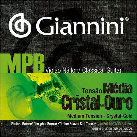 Encordoamento Violão Giannini MPB 028 Nylon Cristal-Ouro Tensão Média