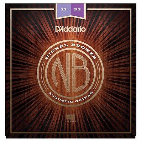 Encordoamento Violão D'Addario Nickel Bronze Custom Light 11-52