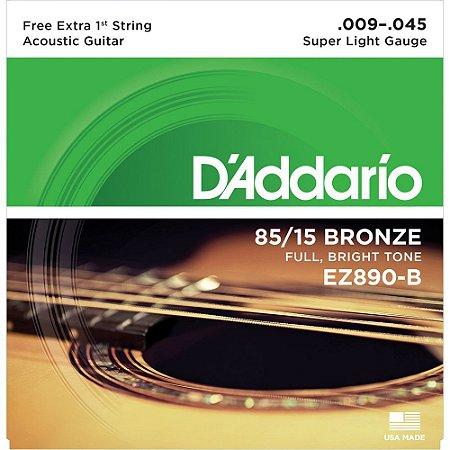 Encordoamento Violão D'Addario EZ890-B Extra Leve 009-045