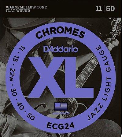 Encordoamento Guitarra D'Addario ECG-24 Jazz Light 11-50