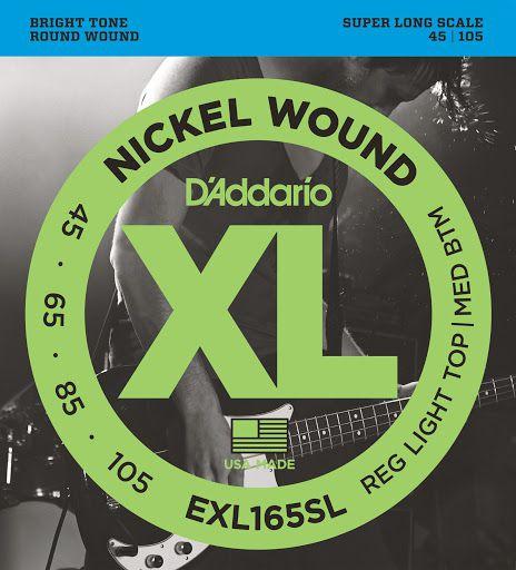 Encordoamento Baixo D'Addario EXL165 Super Long Scale Reg Light Top 045-105
