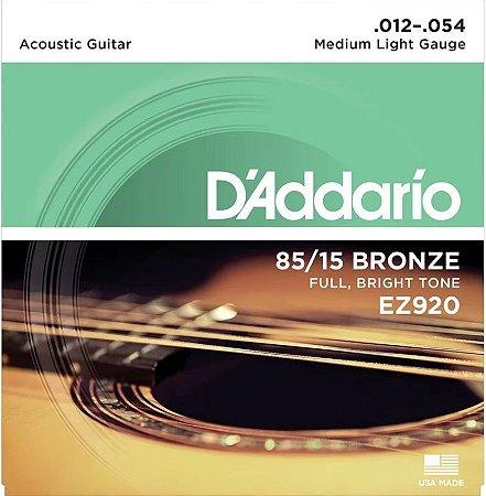 Encordoamento Violão D'Addario EZ920 Medium Light 12-054