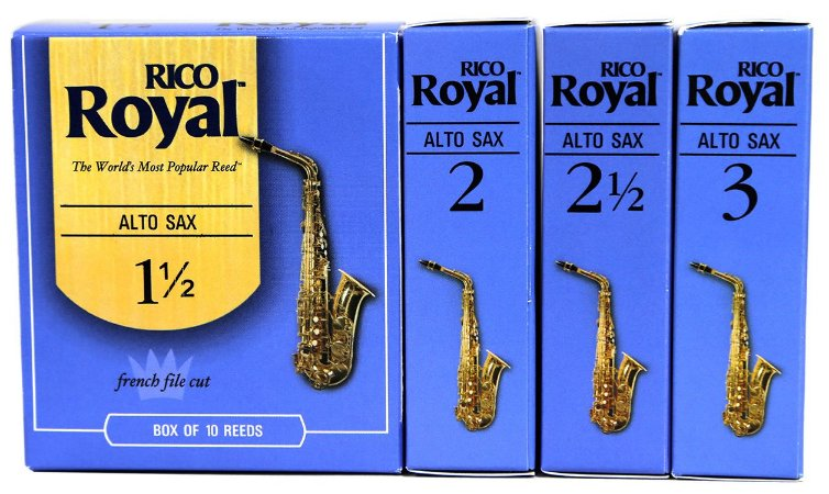 Palhetas Rico Royal Sax Alto Caixa Com 10 + Brinde