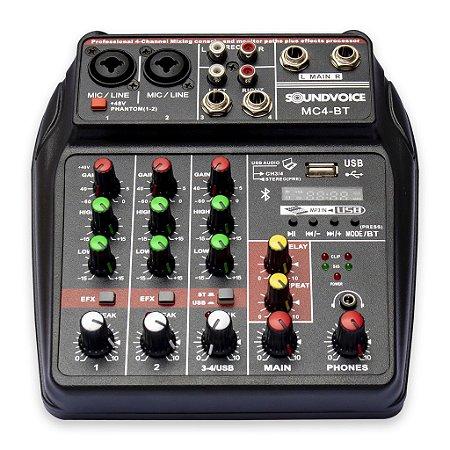Mesa de Som Compacta Soundvoice MC4 BT , 4 canais, Bluetooth