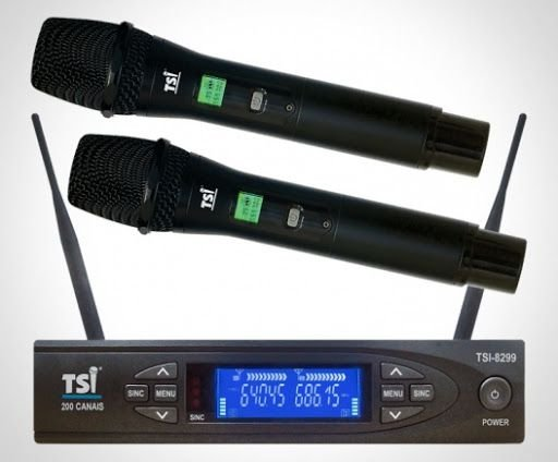 Microfone TSI 8299 UHF Duplo Sem Fio