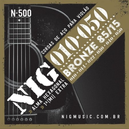 Encordoamento Violão NIG N-500 Bronze 010 Tensão Média