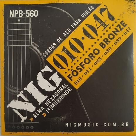 Encordoamento Violão NIG NPB-560 Fósforo Bronze 010
