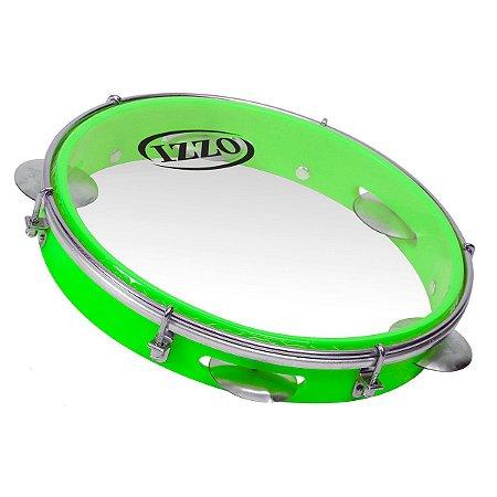 "Pandeiro Izzo ABS 10"" Verde Neon Pele Transparente"