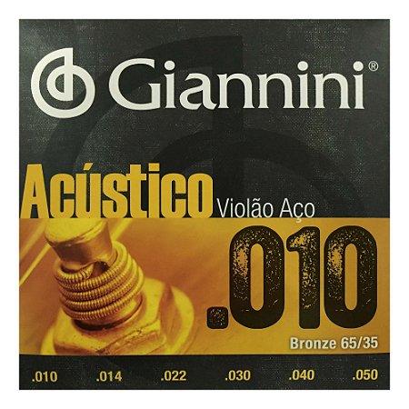 Encordoamento Violão Giannini Aço 010 GESWAM