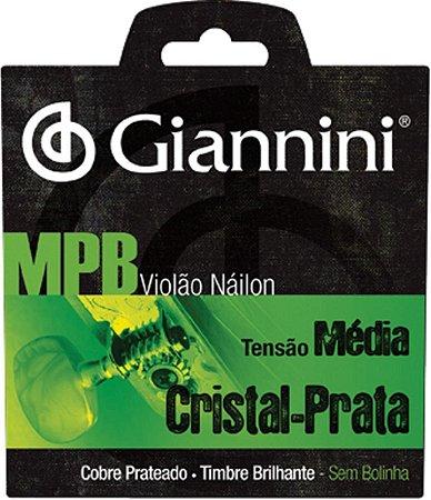 Encordoamento Violão Giannini Nylon MPB Cristal-Prata GESWS Tensão Média