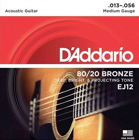 Encordoamento Violão D'Addario EJ12 Medium 013-056