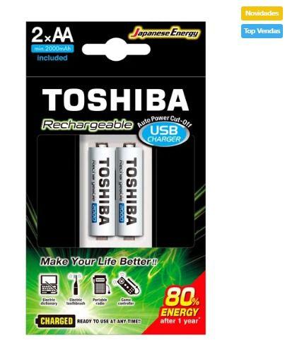 Carregador de Pilhas Toshiba USB AA/AAA Com 2 AA
