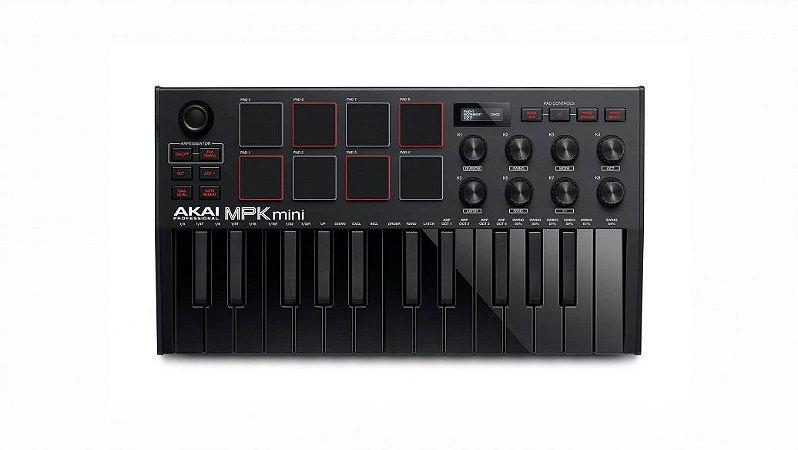 Teclado Controlador Akai MPK Mini3 BK - 25 teclas