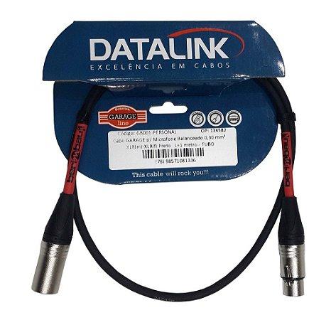 Cabo Datalink Garage P/ Microfone Balanceado 0,30mm²  XLR(m)-XLR(f) 1m