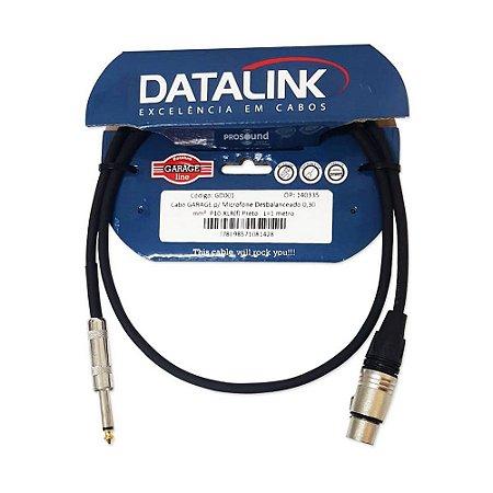 Cabo Datalink Garage P/ Microfone Desbalanceado 0,30mm²  P10-XLR(f) 1m