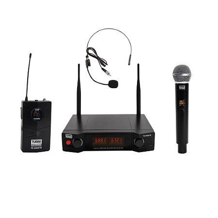 Microfone sem Fio Duplo Mão e Cabeça TE-822DTB Turbo