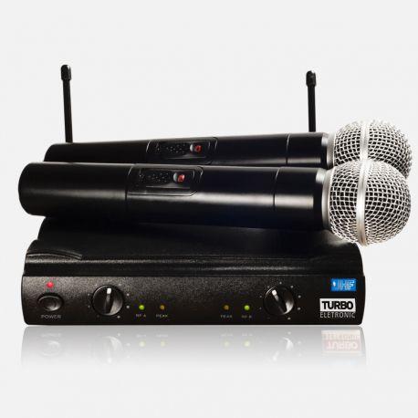 Microfone sem Fio Duplo Mão TE-58 Turbo
