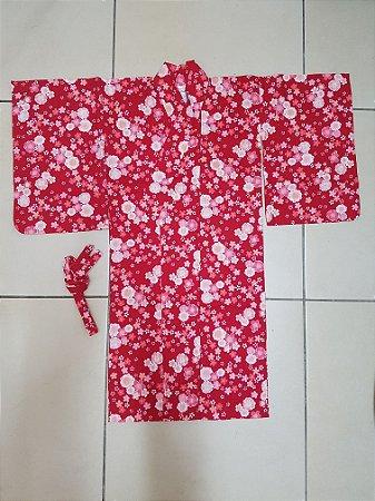 Kimono Infantil Sakura Vermelho - Yunitto Lab