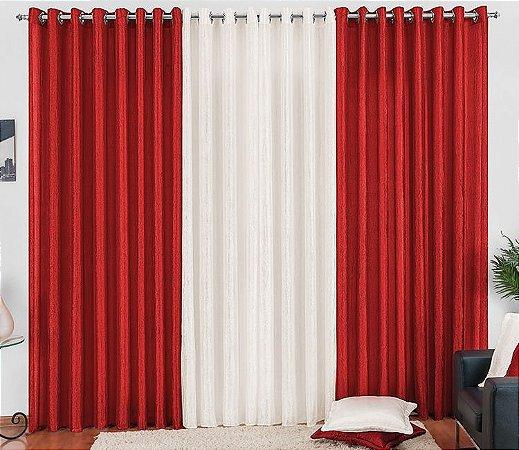 Cortina Cetim Amassado Vermelha Palha para Sala 4 metros Varão Simples Any