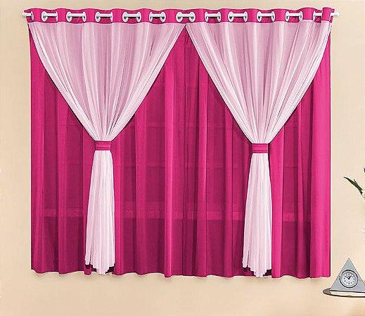 Cortina Malha Pink para Quarto 2 metros Varão Simples Filó