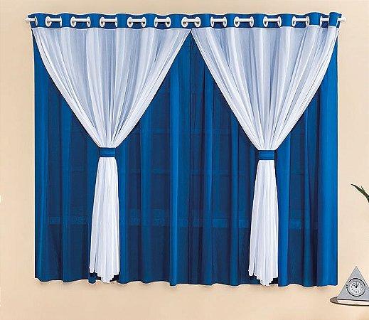 Cortina Malha Azul para Quarto 3 metros Varão Simples Filó
