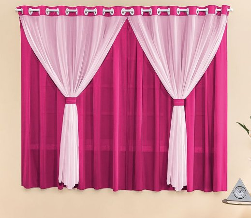 Cortina Malha Pink para Quarto 3 metros Varão Simples Filó