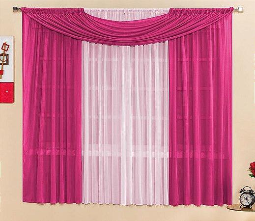 Cortina Malha Pink para Quarto 2 metros Varão Simples Manu