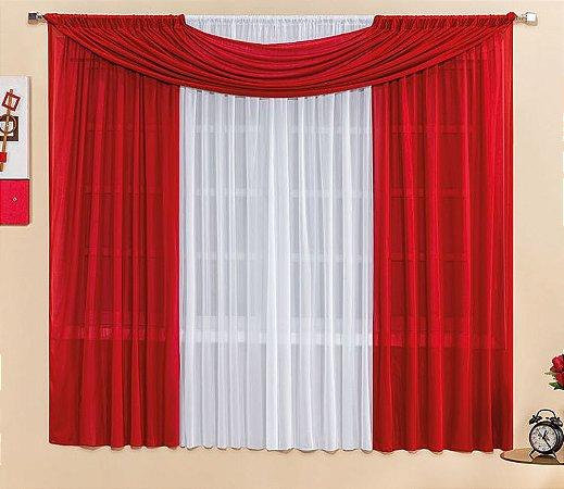 Cortina Malha Vermelha para Quarto 3 metros Varão Simples Manu