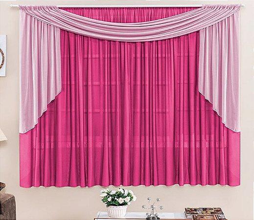 Cortina Malha Pink para Quarto 3 metros Varão Duplo Rebeca