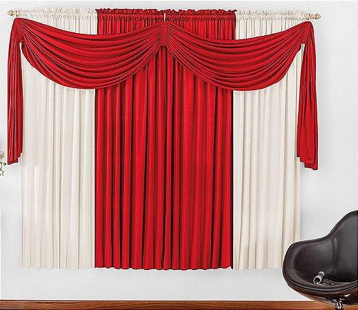 Cortina Malha Vermelha para Quarto 3 metros Varão Simples Iza