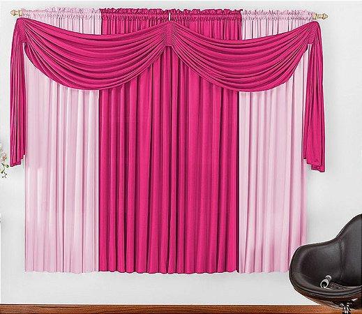Cortina Malha Pink para Quarto 4 metros Varão Simples Iza