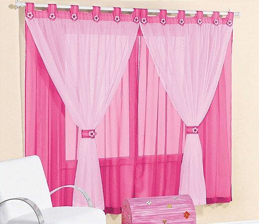 Cortina Infantil Pink 3 metros Varão Simples Juvenil
