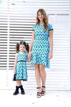 Vestido Infantil Neoprene Palmeiras Tal Mãe Tal Filha