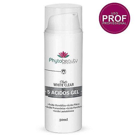 5 Ácidos Gel Phytobeauty Phyto White Clear 50ml