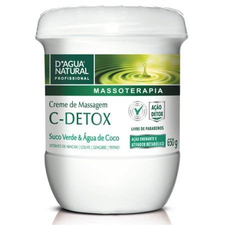 Creme De Massagem D'Agua Natural C-Detox 650g