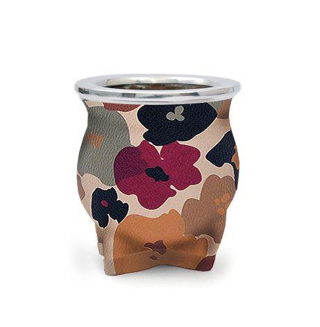 Cuia de Chimarrão Cerâmica Flores Bordeaux Lincoln's