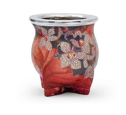 Cuia de Chimarrão Cerâmica Floreada Craquelada Lincoln's
