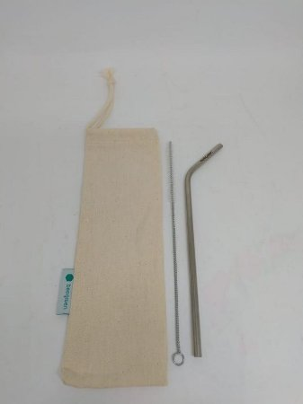 Kit Canudo Curvado de Inox + Porta Canudo Beegreen