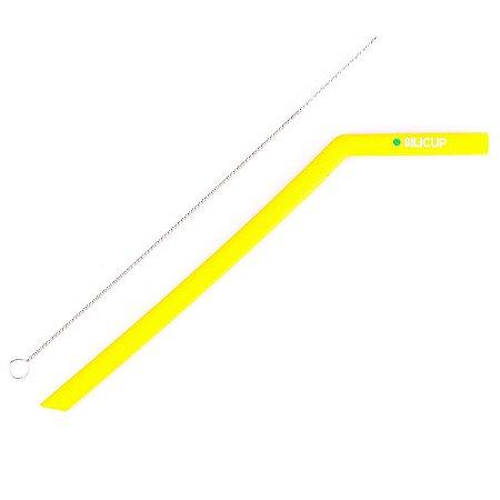 Canudo de Silicone Reutilizável Amarelo Silicup 25cm