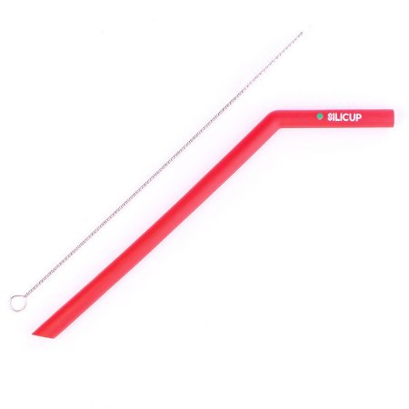 Canudo de Silicone Reutilizável Vermelho Silicup 25cm