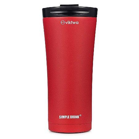 Copo Térmico Long Simple Drink 500ml Vermelho Viktwa