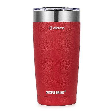 Copo Térmico Up Simple Drink 540ml Vermelho Viktwa