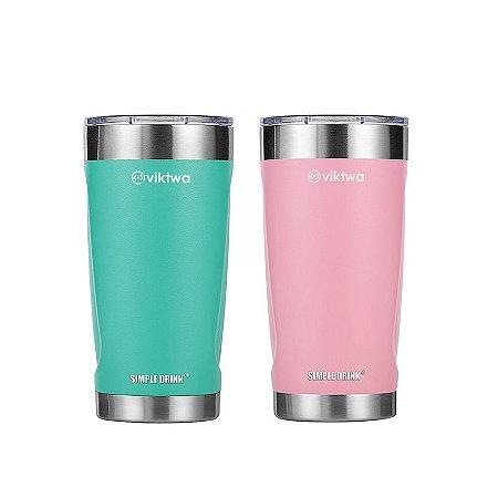 Combo 2 Copos Térm Duo Simple Drink 540ml Rosa/Verde Viktwa
