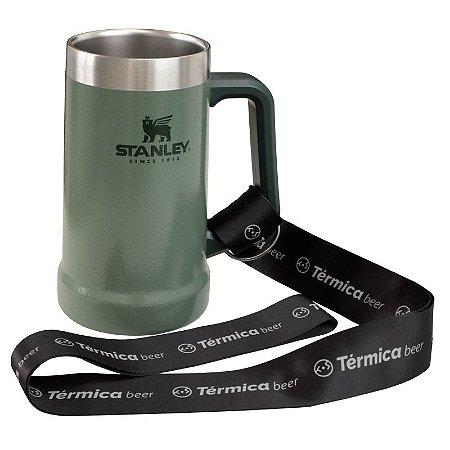 Combo Térmica Beer  - Caneca Verde 709ml Stanley e Cordão Tirante
