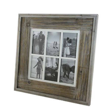 Porta-retrato decorativo em madeira até 6 fotos 10x15cm - Grouper