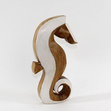 Cavalo marinho decorativo em madeira rústica 30cm - Grouper