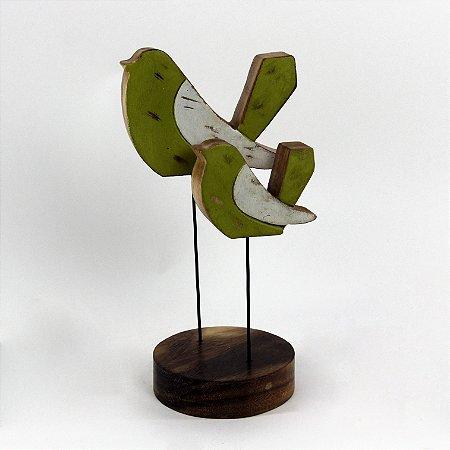 Casal Decorativo de pássaros em madeira rústica 28cm - Grouper