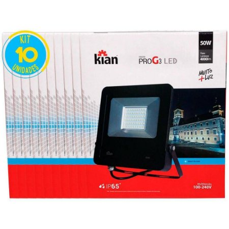 Refletor Led 50W Bivolt Geração 3 Kian ( Kit 10 Unidades ).