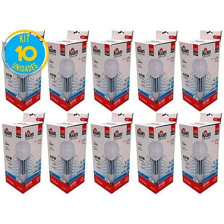 Lâmpada Led 65w Alta Potência Branca Fria Kian Kit Com 10