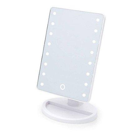 Espelho De Mesa Com Led Para Maquiagem Portátil - Cor Branco